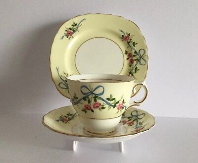 Lovely Vintage Colclough China Trio Tea Cup, Saucer and plate Ribbons Bows Roses