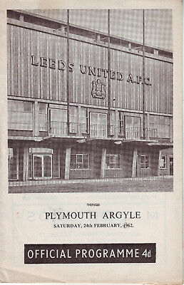 LEEDS UTD V PLYMOUTH 24 FEB 1962 2nd DIV. VGC