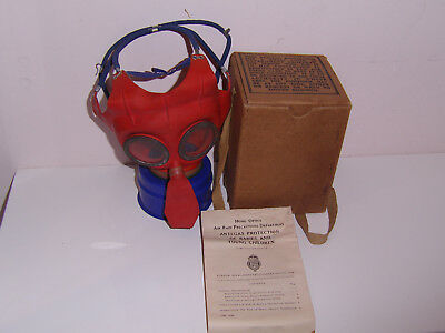 Rare Ww2 Childs Mickey Mouse Gas Mask Boxed With Instructions 1939 Lovely