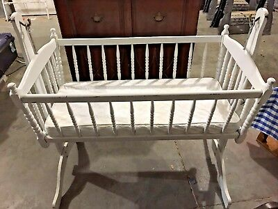 "Rocking Cradle Bassinet Antique Bed Wood & fitted Mattress. White. 36""x38""x23"""