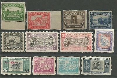 Bolivia selection of 21 Hinged Mint/Mint no gum stamps