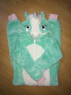 Unicorn Girls Mint Green & White Fluffy One Piece All In One Age 6-7 Years
