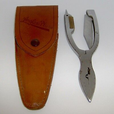 VINTAGE ANGLER'S PLIERS MULTI-TOOL with LEATHER CASE ~ L@@K!
