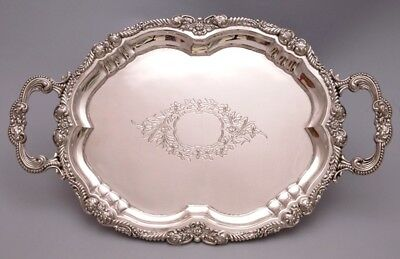 Beautiful Solid Silver Tray. Hand Engraved