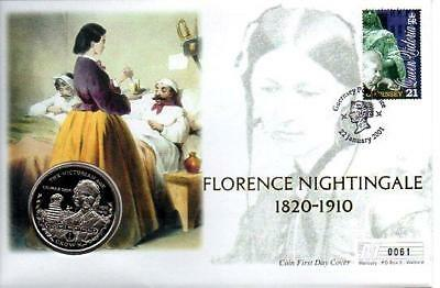 Gibraltar Florence Nightingale Cover 22-1-01+2001 Brilliant Gib Crown Coin F4 F4