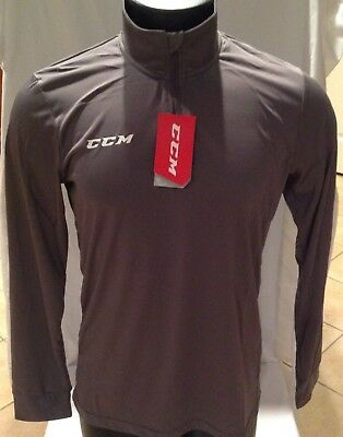 CCM Hockey 1/4 Zip Training Tech Top/Pullover Gray Senior/Adult