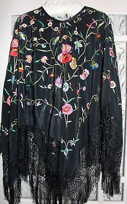 Antique Vintage Heavily Embroidered Floral Canton Piano Shawl