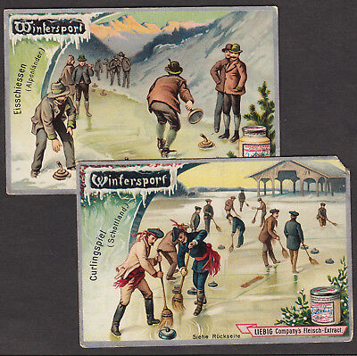 Antique Curling 120+ yrs old Winter Olympic Sports Liebig Advertising Trade Card