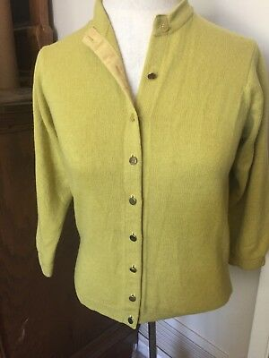 Vintage Pringle Of Scotland Gold/green Cashmere Cardigan Sweater Small