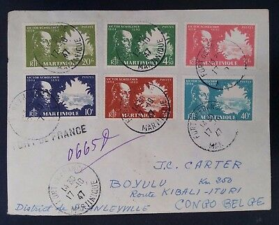 RARE 1947 Martinique Cover ties 6 Victor Schoelcher stamps canc Fort de France