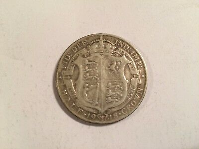 1918 British Half Crown Coin - Sterling Silver .925 - George V