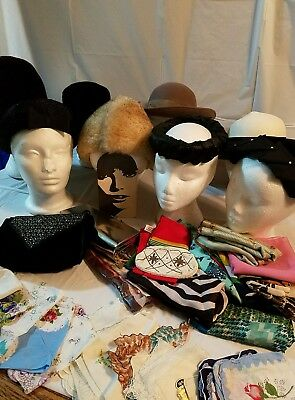 Vintage Hats lot of 8 hats with 3 Handbags/10 Scraf/15 HANKY  lot #1A1