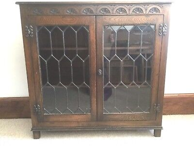 Solid Oak lockable Bookcase with Leaded Glass Doors.Superb Condition.Old Charm.