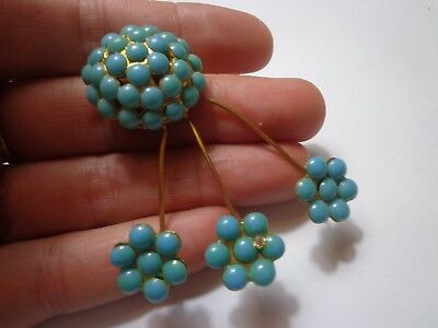 Vintage Art Deco 40's Turuqoise Glass Large Scatter Brooch 2 1/4 In