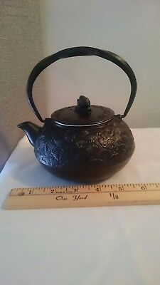 Antique Japanese Cast Iron Signed Tetsubin Teapot With Twisted Handle