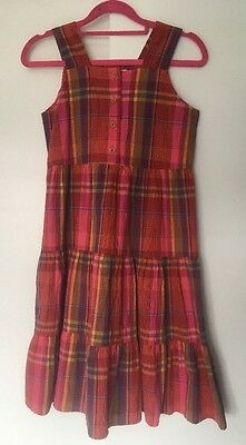 Vintage Girls 90s St Michael bright Check Cotton Day Dress Age 10