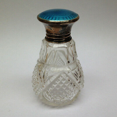 Blue guilloche Cut Glass Scent Bottle. Silver marked 1925.