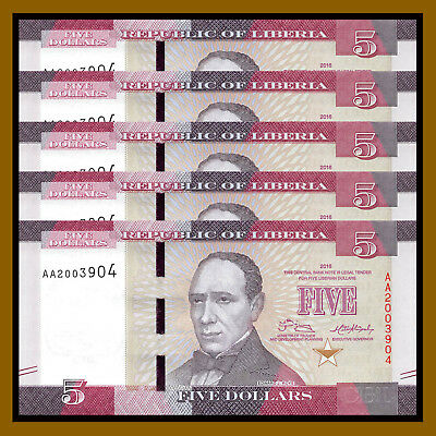 Liberia 5 Dollars x 5 Pcs, 2016 P-31 New Design Unc