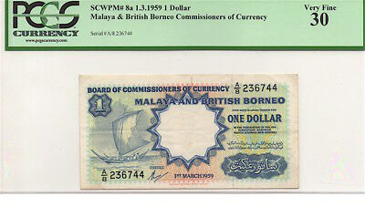 MALAYA AND BRITISH BORNEO 1959 $1 ONE DOLLAR NOTE, P8a, PCGS VF30