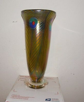 """Early Robert Held Signed And Labeled Iridescent Multi-Colored Peacock 11"""" Vase"""