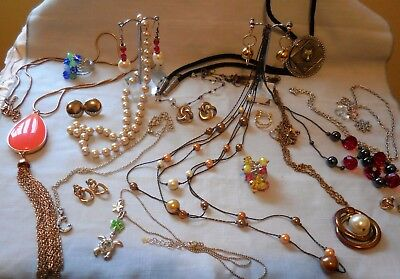 Vintage-Now Jewellery Mixed Bulk Lot Collection Necklaces,Earrings,Scouts Bolo