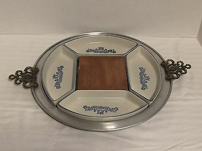 Pfaltzgraff YORKTOWNE Pewter Serving Tray Relish Dishes Cheese Block