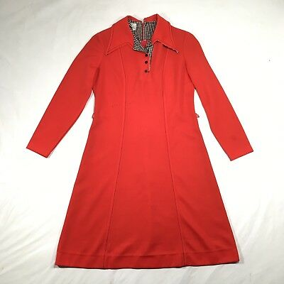 Vintage 60s 70s Red Long Sleeve Puritan Forever Young Short Mod Dress