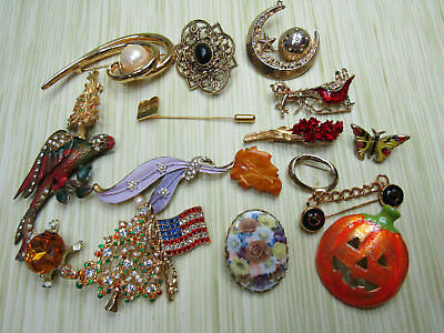 Costume Jewelry Brooch Pin Lot AS IS Flowers Christmas Trees Faux Pearl Bird