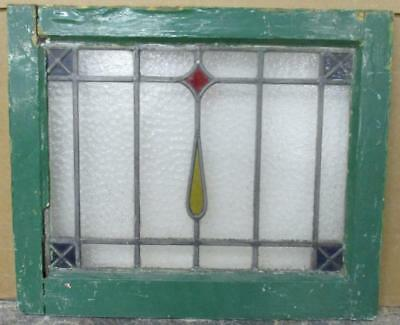 "OLD ENGLISH LEADED STAINED GLASS WINDOW Pretty Simple Geometric 20.25"" x 16.75"""