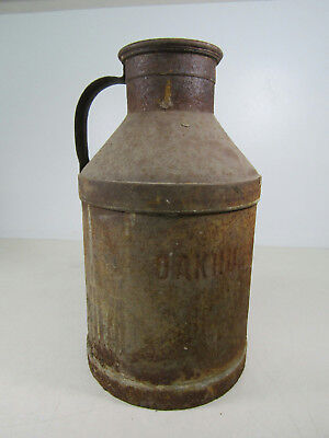 Vintage Collectible Metal Oakhurst DY CO Brand Milk Jug Can Rustic