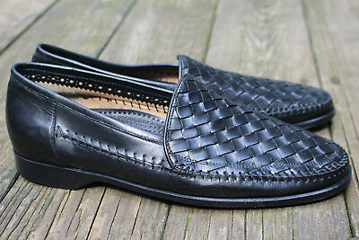 Mens Cole Haan Collection Woven Leather Loafers Italy Shoes 11.5 black