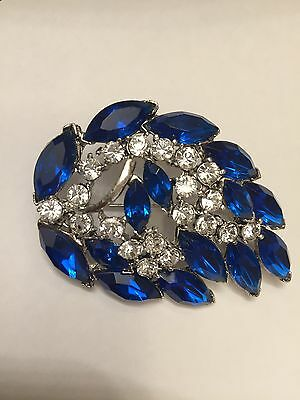 Signed Weiss Sparkling Royal Blue & Crystal Rhinestone  Pin
