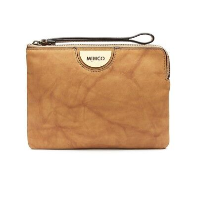 MIMCO ECHO Medium Pouch HONEY Soft Leather Brushed Brass Logo Wallet BNWT Xpress