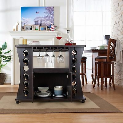 Home Bar Furniture Set Buffet Table With Wine Rack Servers Cabinet Mini New