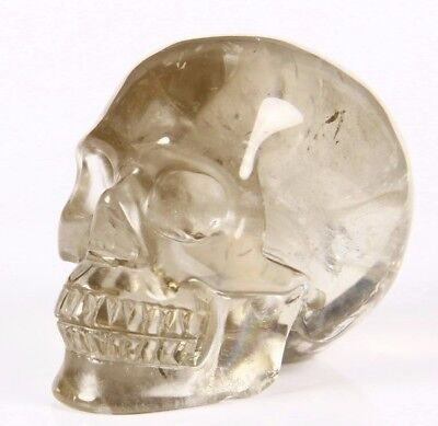 "2.0"" SMOKY QUARTZ ROCK CRYSTAL Carved Crystal Skull, Realistic, Crystal Healing"