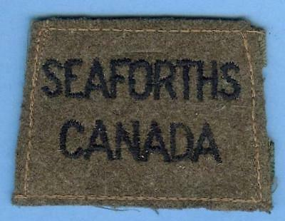 Canadian Army Slip-on Title Patch Early WWII--SEAFORTHS CANADA Scottish