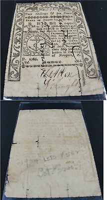 1786 Rhode Island Two Shillings & Six Pence U.s. Colonial Currency Money Bill