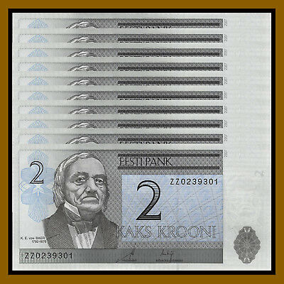 Estonia 2 Krooni x 100 Pcs Bundle, 2007 P-85b Replacement (ZZ) Unc
