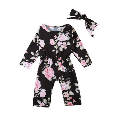 US Stock Newborn Baby Girls Floral Romper Bodysuit Jumpsuit Outfits Clothes Set