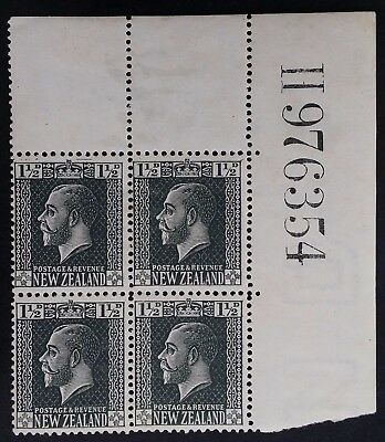 SCARCE 1915 New Zealand block of 4x 1 1/2d slate grey George V stamps w Sheet No