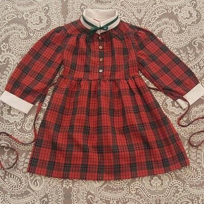 Vintage Baby Toddler Girls Red Plaid Christmas Dress Childrens Clothes