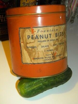 Old PEANUTS TIN Container.. Vintage FOUNTAIN BITS of Lancaster Pa. w/Paper Label