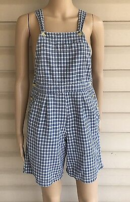 Retro Overalls Shorts Ladies Size S Blue Checkered 90's One Piece Halloween
