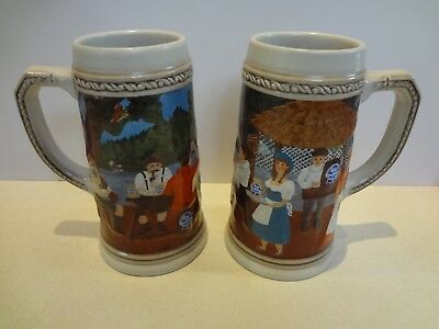 Lot (2) Pabst Blue Ribbon PBR Beer Steins Mugs Limited Edition