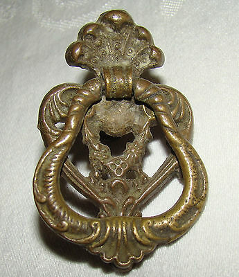 Ornate Antique Brass Drawer Pull # 3077