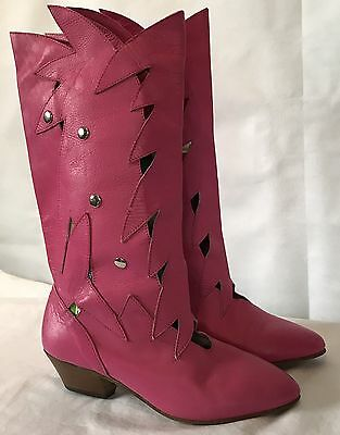 Pink Leather Boots Tall Size 5.5 Jawbreaker Vintage 80's Fall Punk Halloween Cos