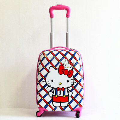 Kid Gift Wheeled Rolling Suitcase Travel Bag Luggage Trolley ( 4-Wheel Kitty )