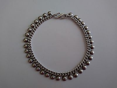 "Suarti Bali Indonesia Sterling Silver Curb Chain Bead Dangle 10"" Ankle Bracelet"
