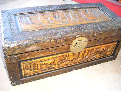 Original Antique Chinese Hand Carved Camphor Wooden Treasure Chest -Pirate Ships