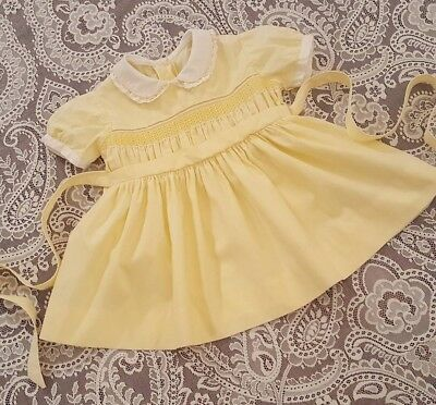 Vintage Baby Toddler Girls Yellow Dress Childrens Clothes